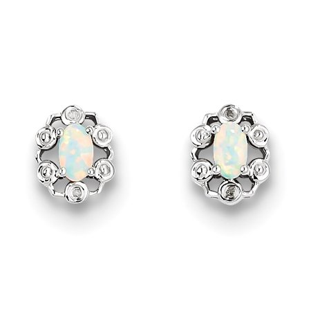 Sterling Silver Rhodium-plated Created Opal & Diam. Earrings QBE22OCT - image 2 of 2