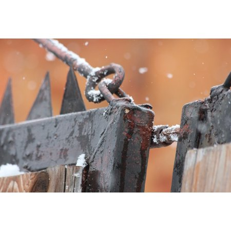 Canvas Print Gate Gateway Rusty Rust Snow Fencing Iron Metal Stretched Canvas 10 x