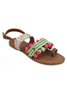 2f45295d3888 OM Girl Kahlia Multicolor Textile Rubber Polyurethane Sandals