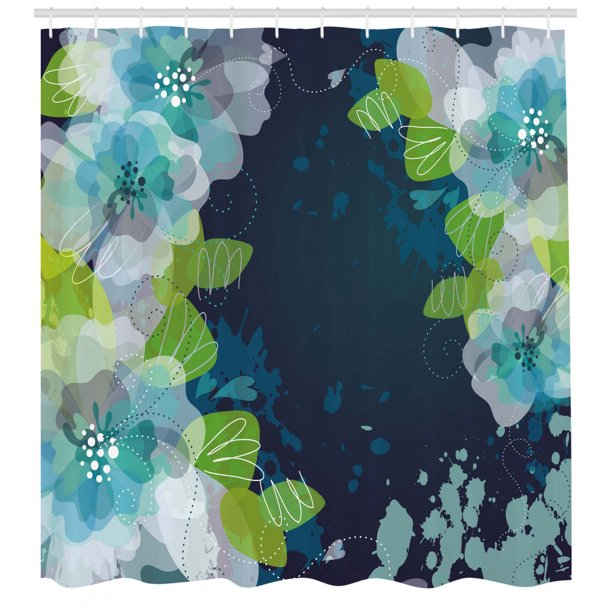 Navy Shower Curtain Sketchy Abstract