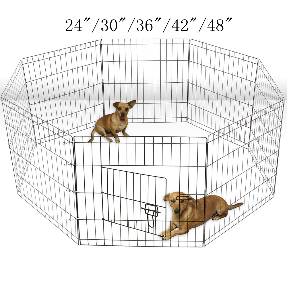 "Zimtown 24""/30""/36""/42""/48"" Tall Pet Dog Playpen Foldable Metal Exercise Fence Cage Kennel with Door 8 Panel Outdoor Indoor"