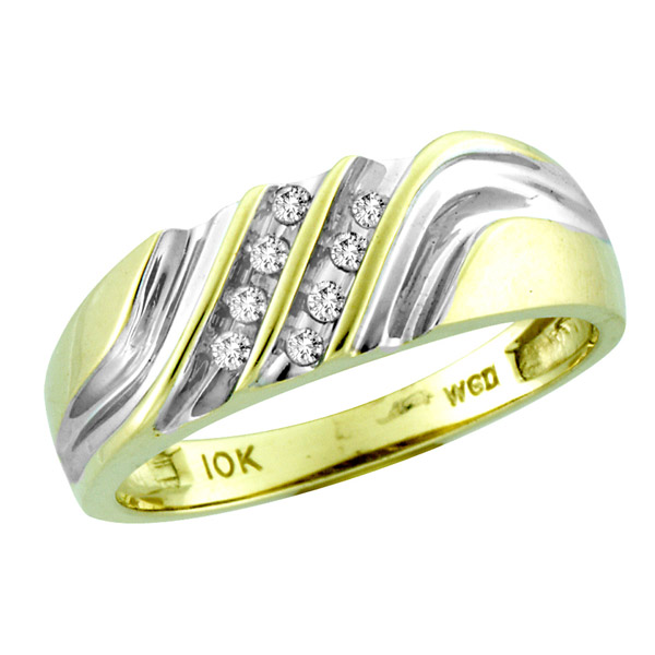 10K Two Tone Gold 0.12cttw Mens Sign Of Love Round Diamond Ring Band