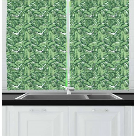Banana Leaf Curtains 2 Panels Set, Hand Drawn Plantain Leaves Divided Into Two Lamina Halves, Window Drapes for Living Room Bedroom, 55W X 39L Inches, Hunter Green and Pale Green, by