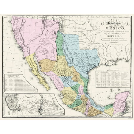 Old Mexico Map Old Mexico Map   Mexican States   Tanner 1846   23 x 28.97