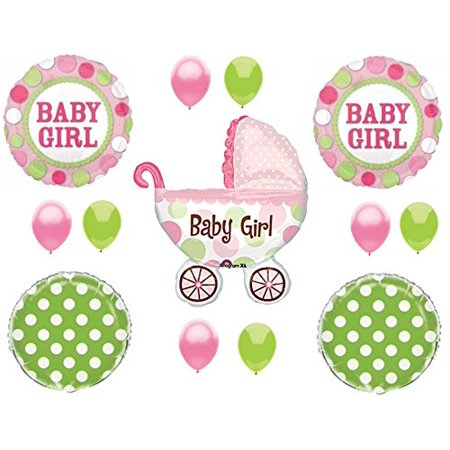 - IT'S A GIRL Buggy Carriage Baby Shower Balloons Decoration Supplies Polka Dots