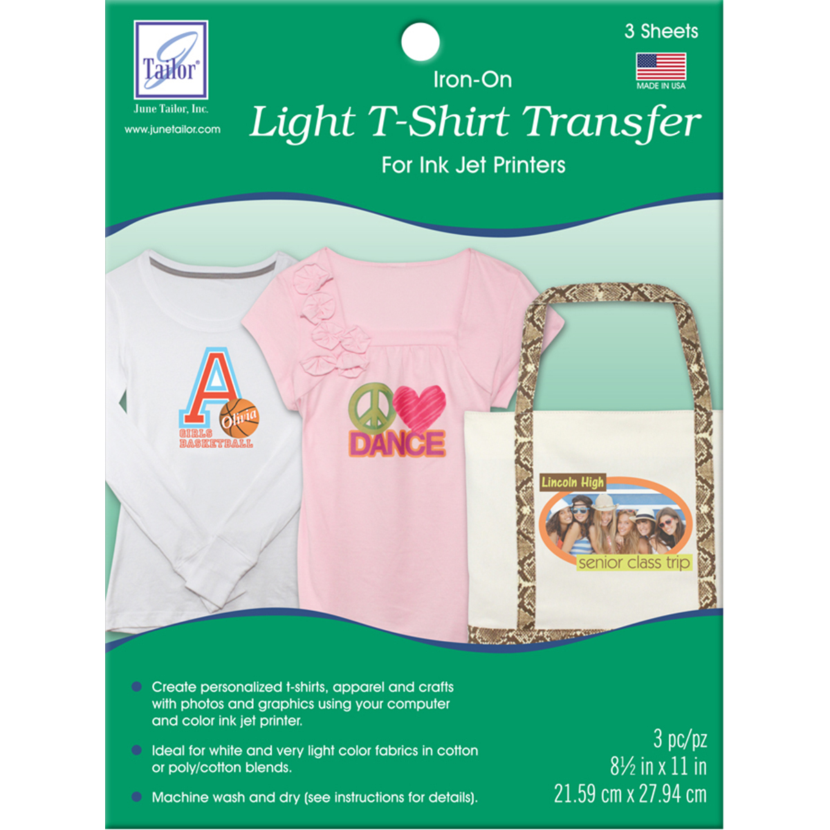 """June Tailor Light T-Shirt Transfer, 8-1/2"""" x 11"""", 3/pkg"""