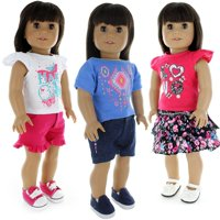 Pink Butterfly Closet Doll Clothes - 6 Pieces Mix and Match Clothes Outfit Fits American Girl Doll, My Life Doll and Other 18 inch Dolls