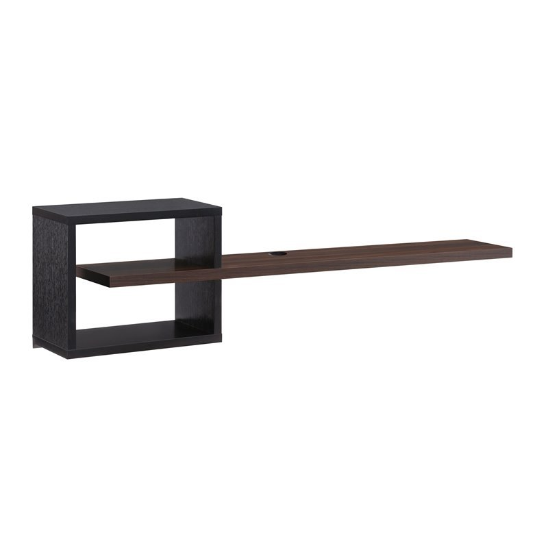 Furniture Of America Nash Wood Floating Tv Stand In Black And Dark Walnut Walmart Com Walmart Com
