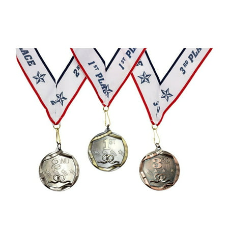 Bronze Star Medal - 1st 2nd 3rd Place Shooting Stars Award Medals - 3 Piece Set (Gold, Silver, Bronze) - Includes Ribbon