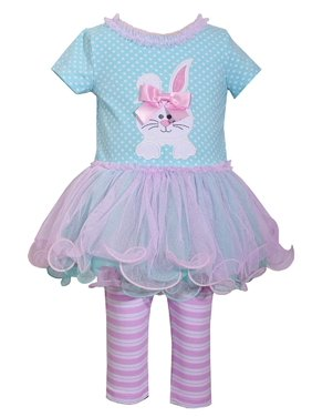 Bonnie Jean Easter Baby Girls' Appliqued Skirt Dress and Legging Set (4T, Aqua)