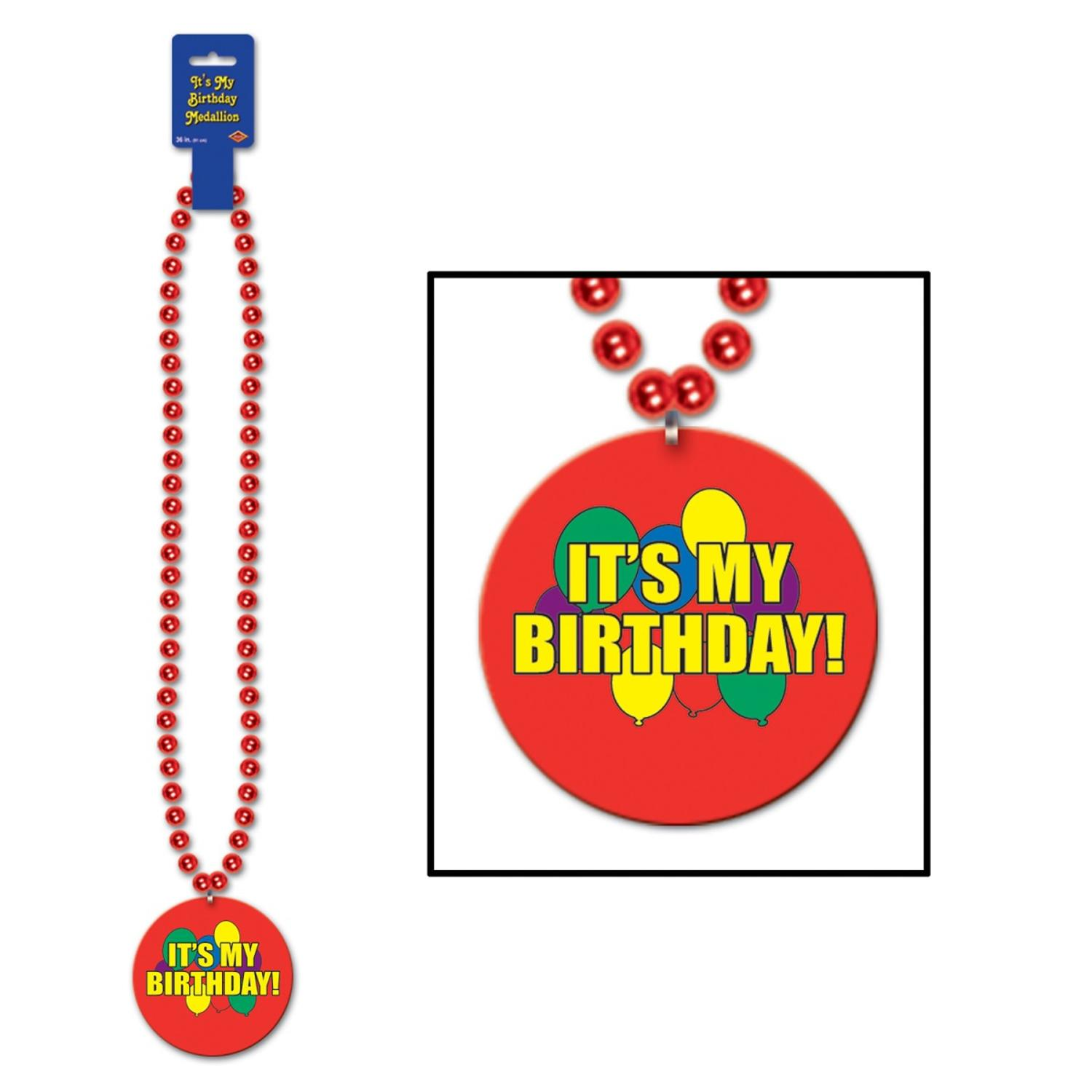 """Pack of 12 Metallic Red Beaded Necklace with """"It's My Birthday"""" Medallion 36"""""""