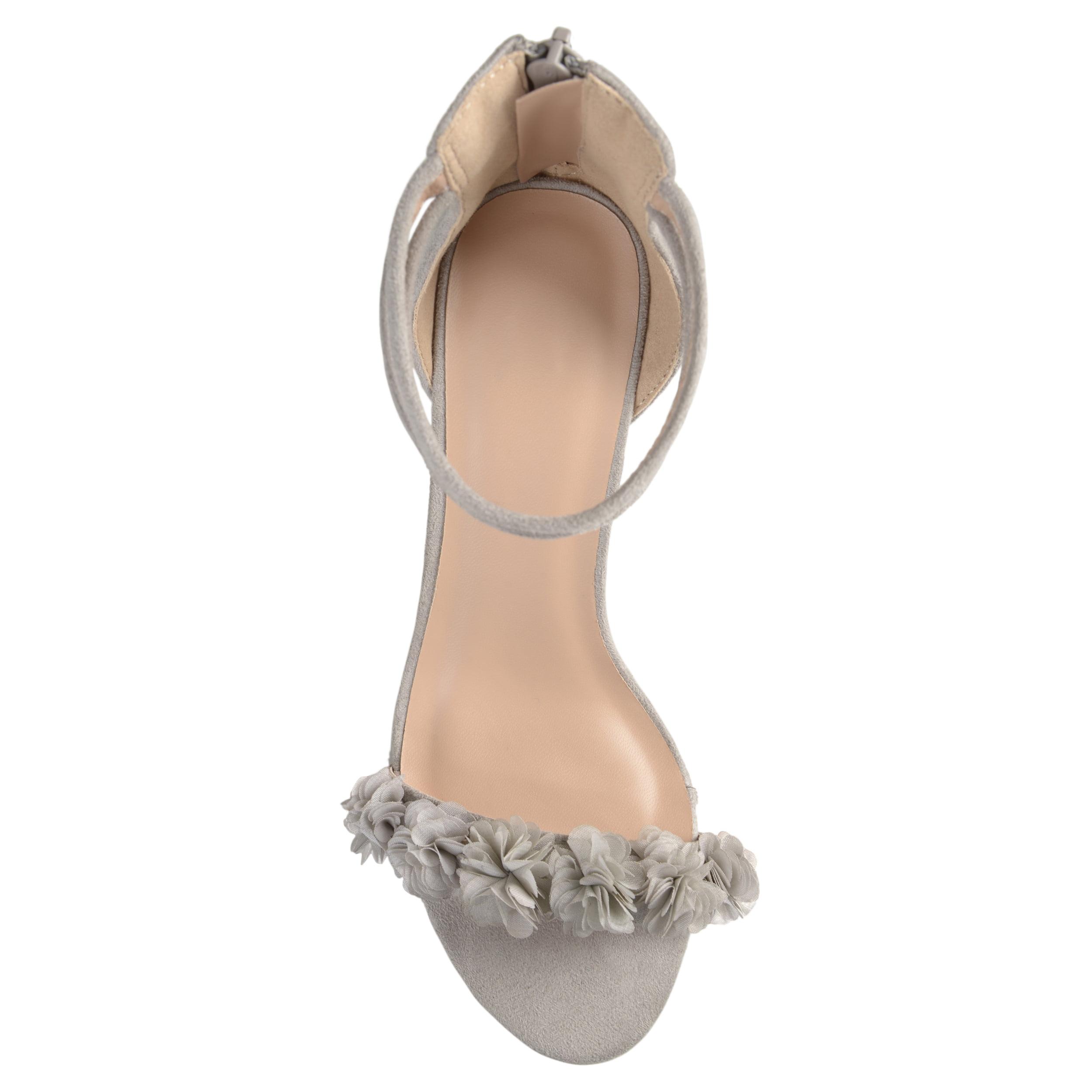Brinley Flower Co. Women's Faux Suede Flower Brinley Ankle Strap High Heels 3bacff