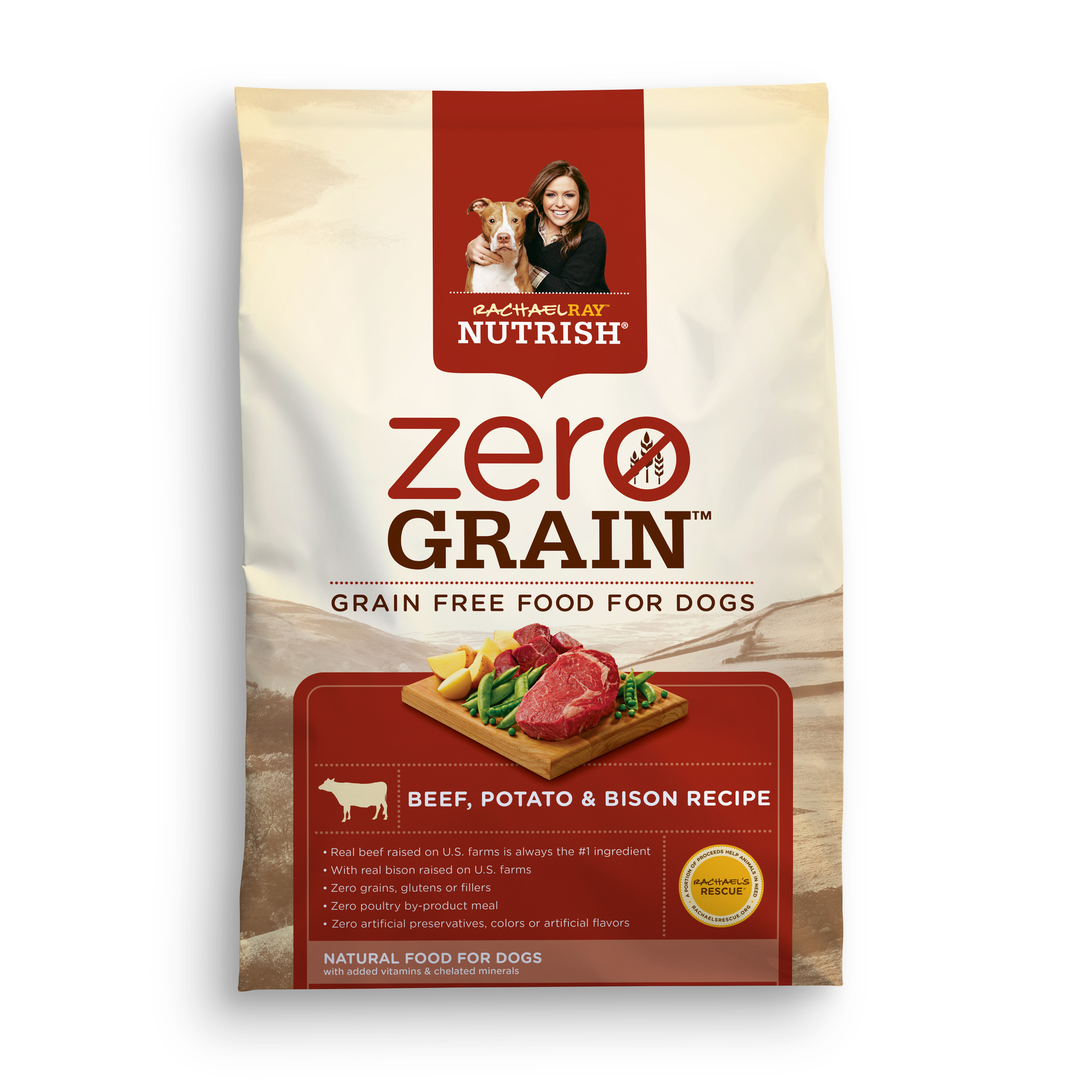 Rachael Ray Nutrish Zero Grain Natural Dry Dog Food, Beef, Potato & Bison Recipe, 11 lbs