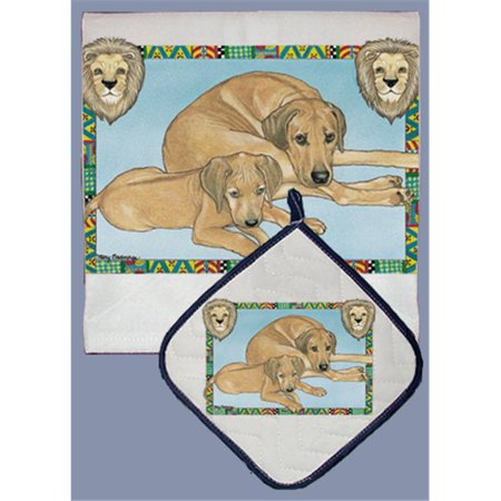 Pipsqueak Productions DP858 Dish Towel and Pot Holder Set - Rhodesian Ridgeback