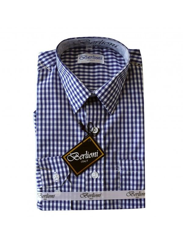 Berlioni Boys Kids Toddler Plaids and Checks Long Sleeve Dress Shirt