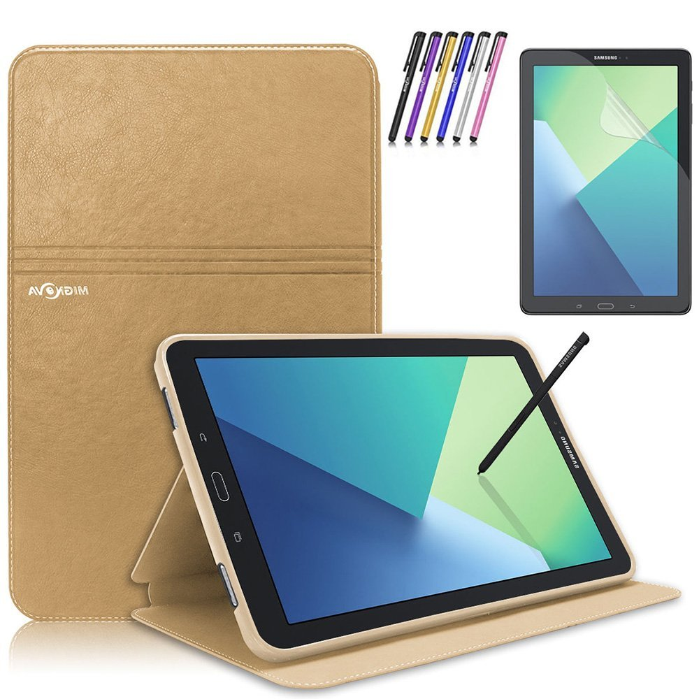 Mignova Samsung Galaxy Tab A 10.1 with S Pen Case - Slim Smart Stand Cover with Auto Sleep/Wake for Galaxy Tab A 10.1 inch Tablet with S Pen SM-P580+ Screen Protector Film and Stylus Pen (Gold