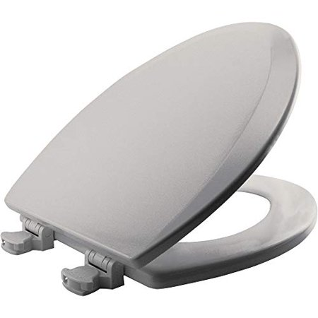 Bemis 1500EC 062 Wood Elongated Toilet Seat With Easy Clean & Change Hinge, Ice Grey