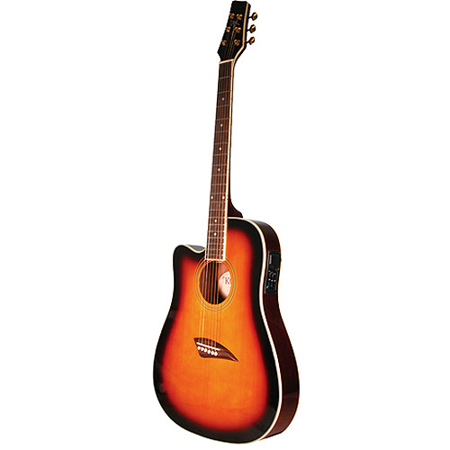 Kona Left-Handed Thin-Body Acoustic/Electric Guitar, Spruce with High-Gloss Finish