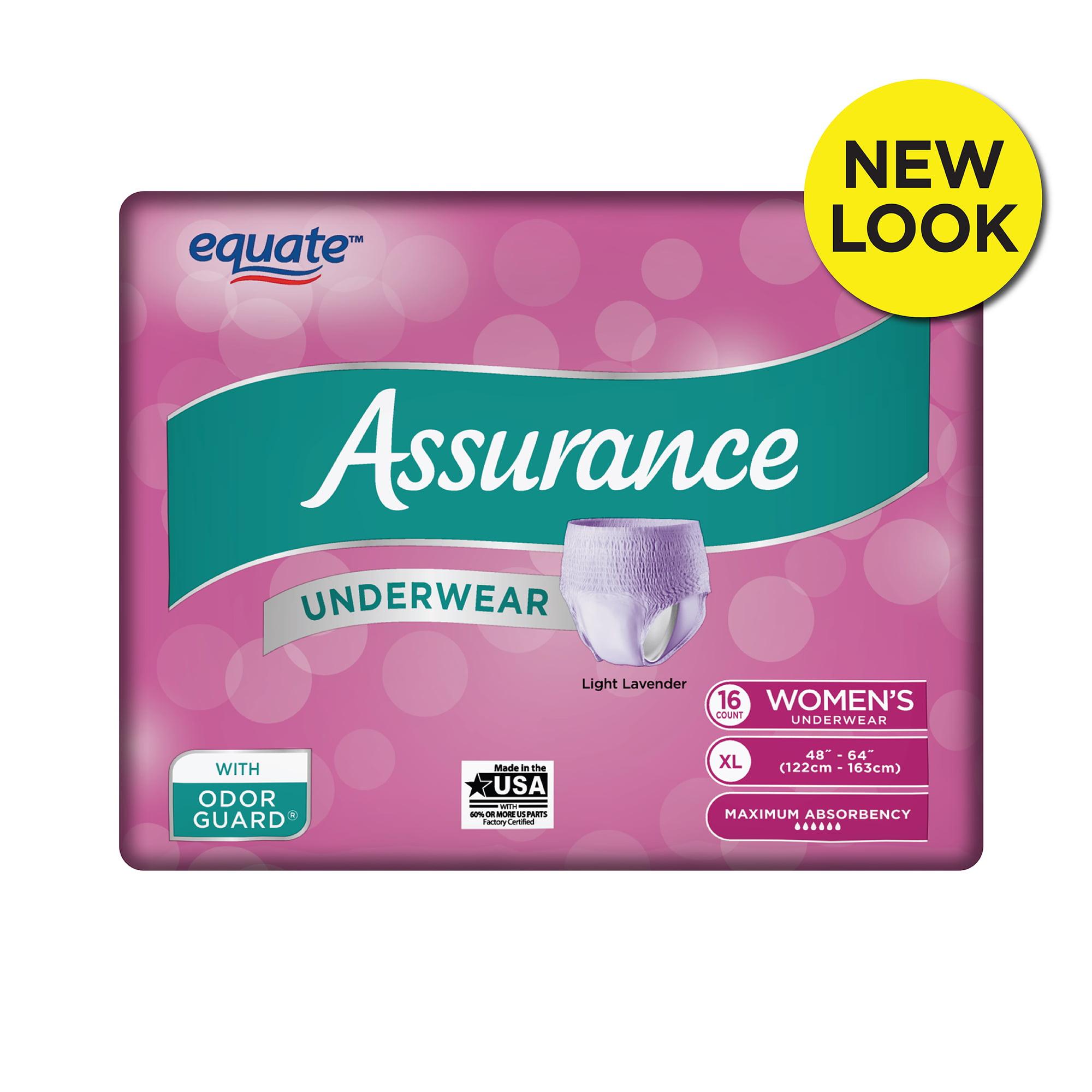 Assurance Incontinence Underwear for Women, Maximum, XL, 16 Ct