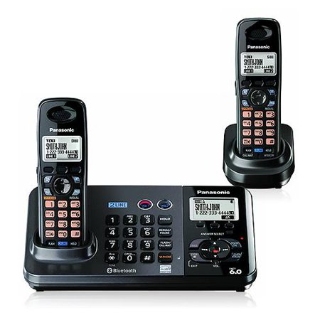 Panasonic KX-TG9382T 2-Line DECT 6.0 Cordless Phone with Extra Handset by