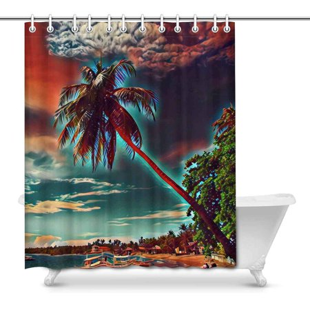 MKHERT Coco Palm Tree in Sky Exotic Beach Painting Digital Style Home Decor Waterproof Polyester Bathroom Shower Curtain Bath Decorations Hooks 66x72 inch