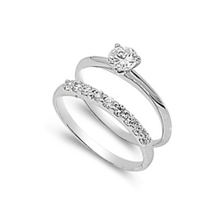Sterling Silver Engagement Ring Wedding Band Bridal Set Clear CZ Size 7