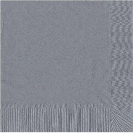 200 -  (4 Pks of 50) 2 Ply Plain Solid Colors Luncheon Dinner Napkins Paper - Silver 3 Ply Paper Napkin