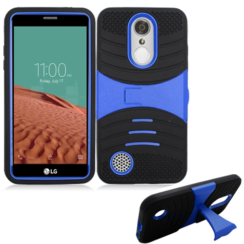 Phone Case For AT&T PREPAID LG Phoenix 3, Tracfone LG Rebel-2, LG Fortune, Cricket LG Risio 2, Aristo (MetroPCS), LV3 Rugged Heavy Duty Armor Cover Stand ( Armor Blue Stand-Black Skin )