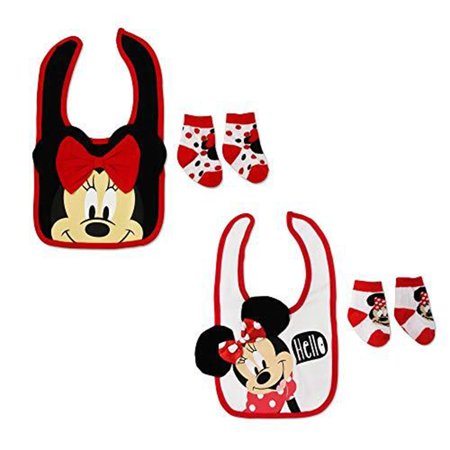 Mickey Mouse 1st Birthday Bib (Disney Mickey Mouse Bib and Socks Set, 2 Piece Bundle Set 0-12)