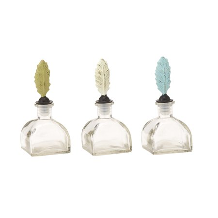 Distinctive Glass Metal Stopper Bottle 3 Assorted