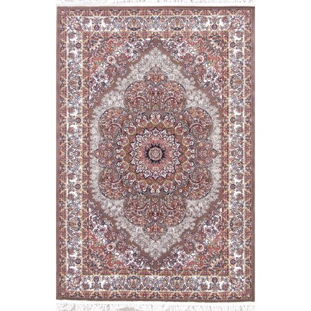 Brown High Quality Wool Acrylic Oriental Rug Floral Rug 5x7 Reed 700 ()
