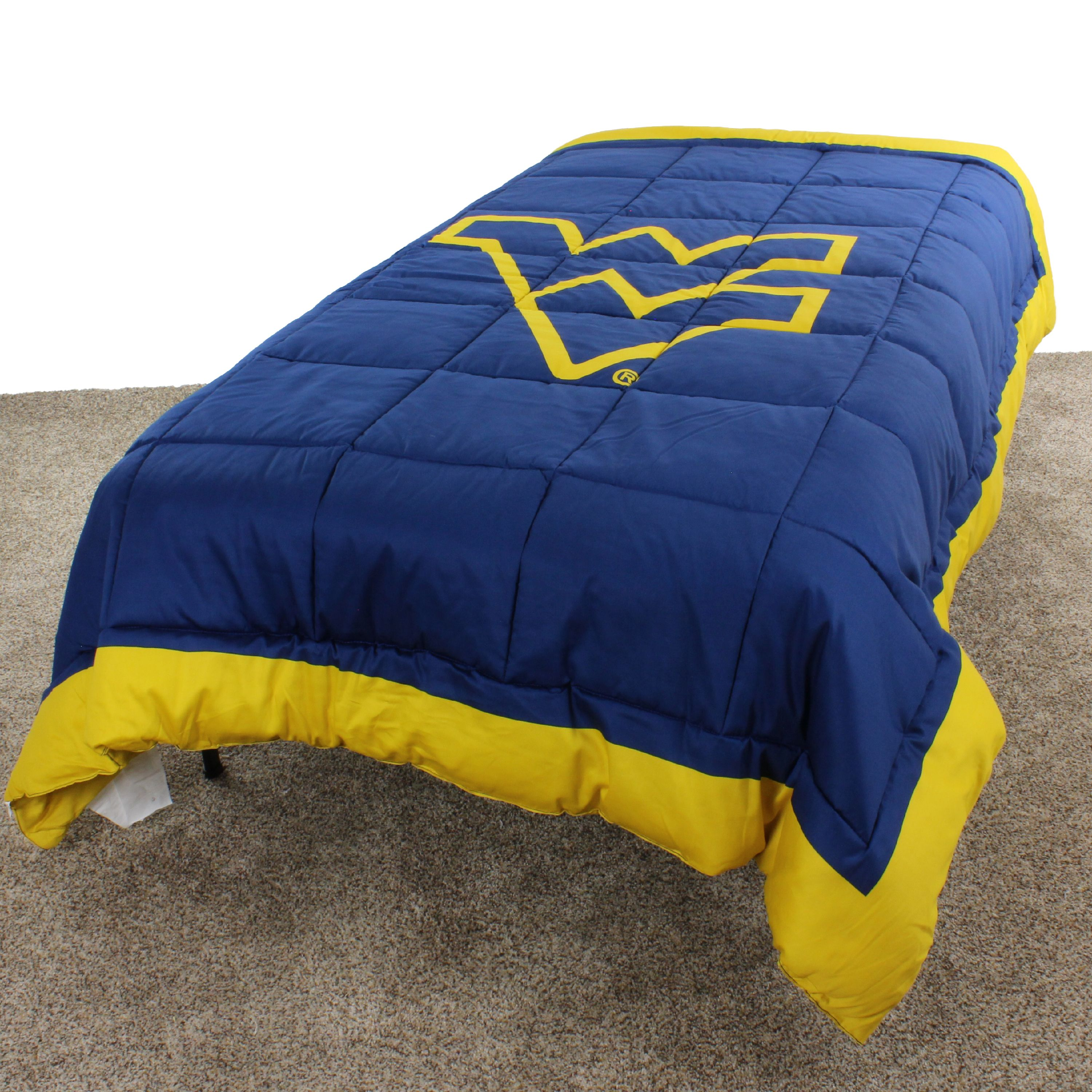 """West Virginia Mountaineers 2 Sided Reversible Comforter, 100% Cotton Sateen, 80"""" x 90"""", Full"""