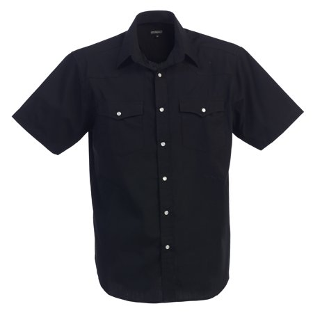 Mens Casual Western Solid Short Sleeve Shirt With Pearl (Western Cowboy Pearl Snap Shirt)