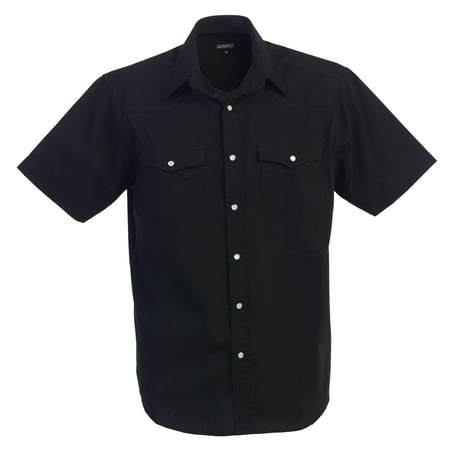 Mens Casual Western Solid Short Sleeve Shirt With Pearl