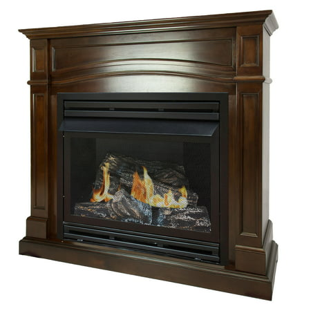 - Pleasant Hearth 46 in. Liquid Propane Full Size Cherry Vent Free Fireplace System 32,000 BTU