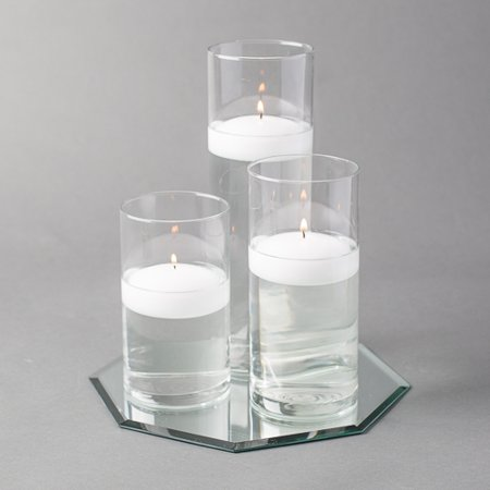 "Eastland Octagon Mirror 10"" and Cylinder Vase with 3"" White Floating Candle Set of 4"