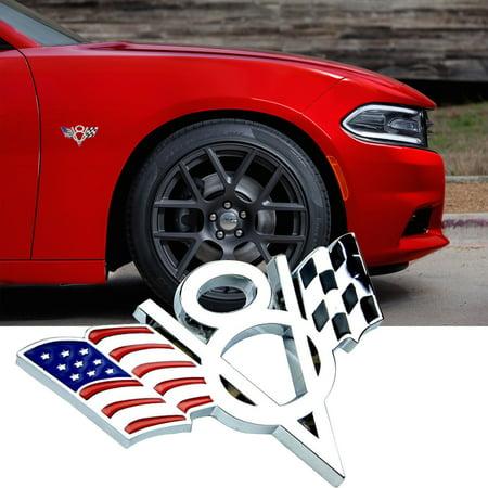 Xotic Tech America US Flag V8 Emblem Side Fender Trunk Bumper Sticker Badge for Ford Chevrolet Honda Toyota