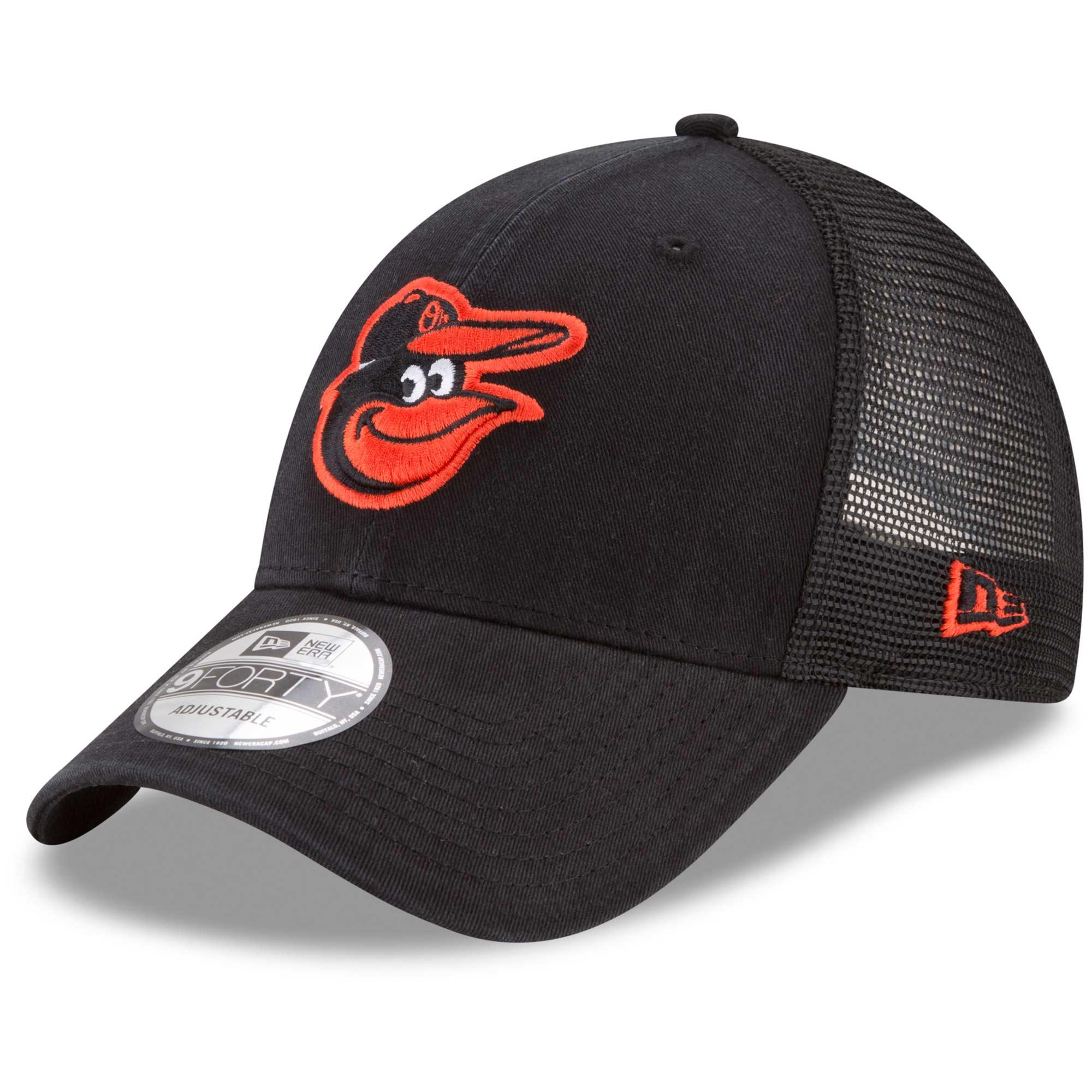 Baltimore Orioles New Era Trucker 9FORTY Adjustable Snapback Hat - Black - OSFA