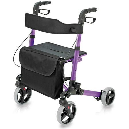 HealthSmart Rollator Walker with Seat and Backrest, Adjustable Handle Height, Removable Storage Bag and a Durable Lightweight Frame That Easily Folds While Supporting up to 300 pounds, Purple