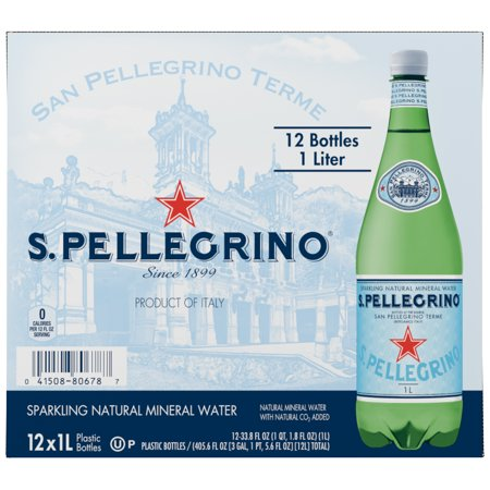 S.Pellegrino Sparkling Natural Mineral Water, 33.8 fl oz. Plastic Bottles (Pack of 12)