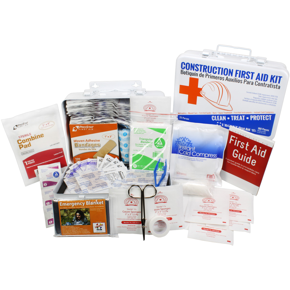 OSHA Contractors First Aid Kit for Job Sites up to 25 People ? Gasketed Metal, 180 pieces