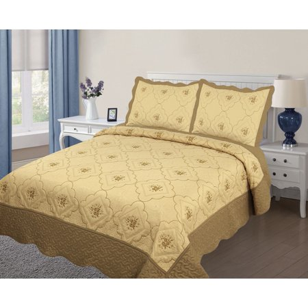 3PC Quilted Bedspread Cover Oversized Queen Size High Quality Embroidery Quilt - (Best Ikea Quilts)