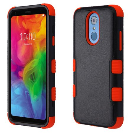 LG Q7, Q7+, Q7 Plus Phone Case Tuff Hybrid Shockproof Impact Rubber Dual Layer Hard Soft Protective Hard Case Cover Natural Textured Black Red Phone Case for LG Q7, Q7+, Q7 Plus Soft Textured Natural
