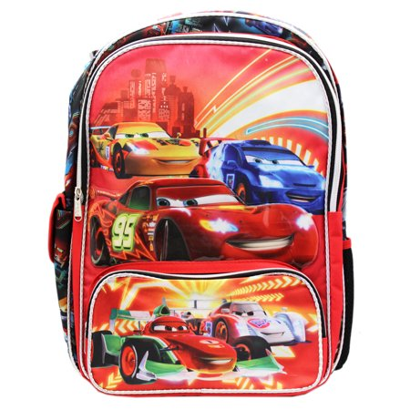 Disney 's Cars Lightning McQueen Neon Racers Full Size Backpack (16in)