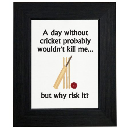 A Day Without Cricket Probably Wouldn't Kill Me But Why Risk It? Framed Print Poster Wall or Desk Mount (Best Way To Kill Crickets In Home)