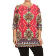 MOA Collection Women's Plus Size Pattern Print Tunic CHEETAH-XLARGE