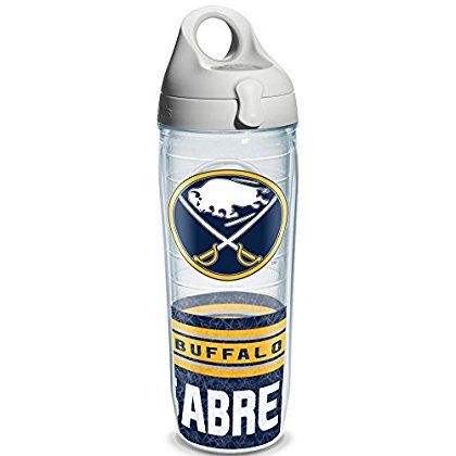 Tervis 1145515 'NHL Buffalo Sabres' Water Bottle with Grey Lid, Wrap, 24 oz, Clear ()