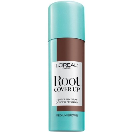 L'Oreal Paris Root Cover Up Temporary Gray Concealer Spray, Medium Brown 2 oz (Pack of 2) for $<!---->