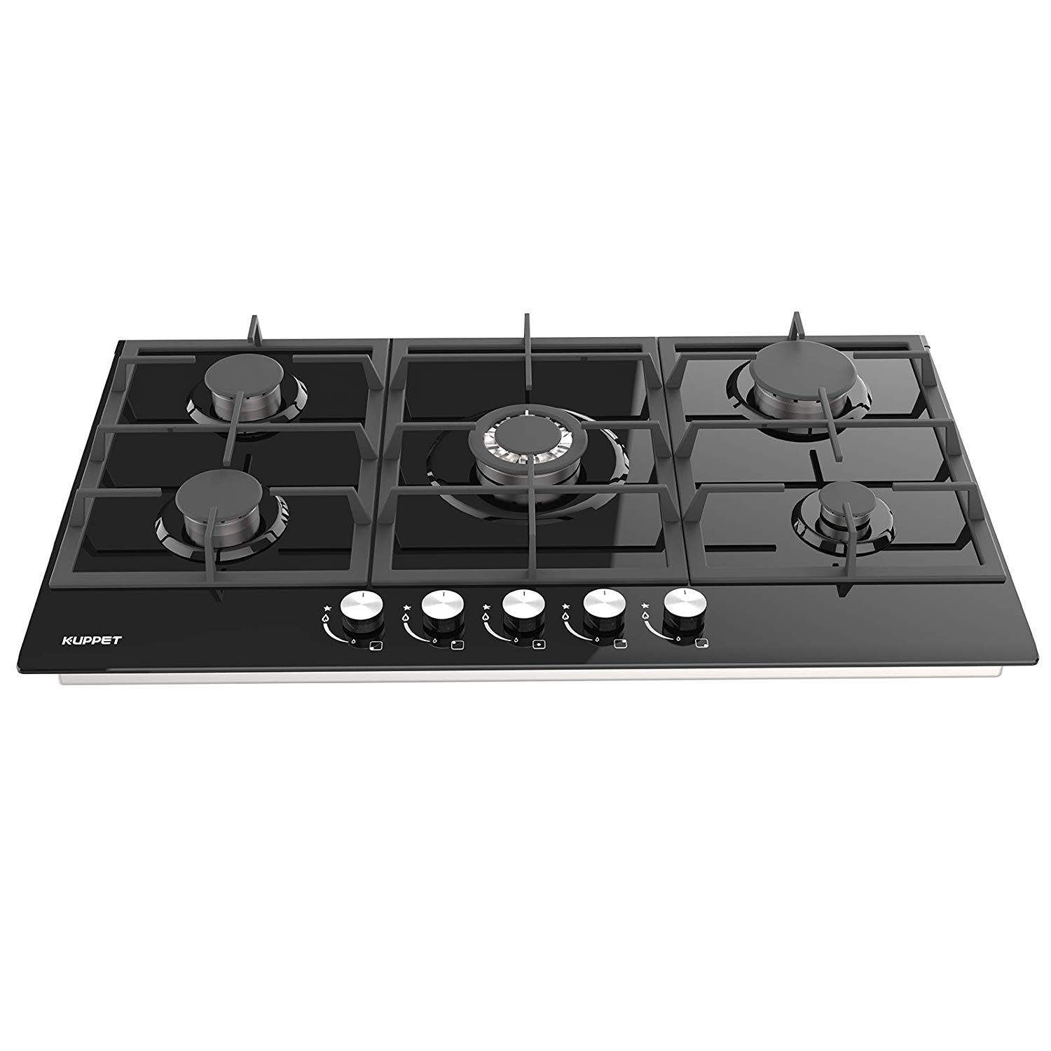 5 Booster 30 Built-in Gas Cooktop KUPPET GHG915 Stove with 5 Booster Burners Smooth Surface Black Tempered Glass Stainless Steel ETL Safety Certified