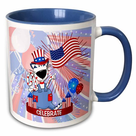 Fireworks Mug - 3dRose Cute Red White and Blue Patriotic Cat with Flag and Fireworks for Kids - Two Tone Blue Mug, 11-ounce